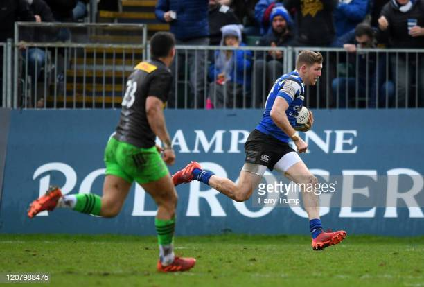 Ruaridh McConnochie of Bath Rugby runs in as he goes over to score his sides second try during the Gallagher Premiership Rugby match between Bath...