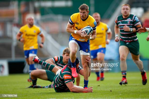 Ruaridh McConnochie of Bath Rugby runs with the ball during the Gallagher Premiership Rugby match between Leicester Tigers and Bath Rugby at Welford...