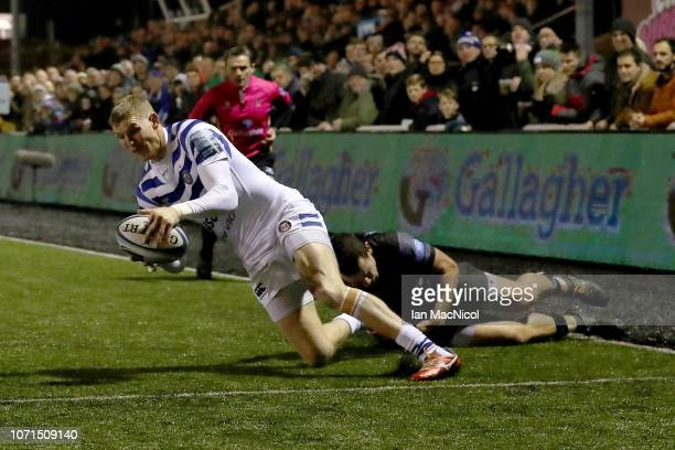 Ruaridh McConnochie of Bath Rugby scores a try during the Gallagher Premiership Rugby match between Newcastle Falcons and Bath Rugby at Kingston Park...