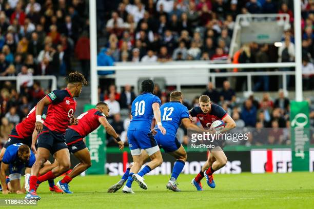 Ruaridh McConnochie of England gets some early ball during the Quilter Autumn International match between England and Italy at St. James's Park,...