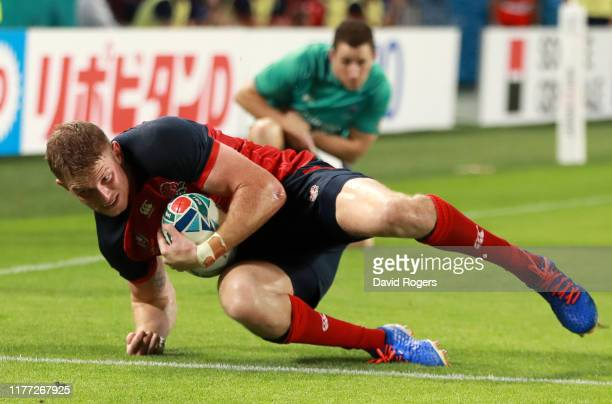 Ruaridh McConnochie of England scores their fifth try during the Rugby World Cup 2019 Group C game between England and USA at Kobe Misaki Stadium on...