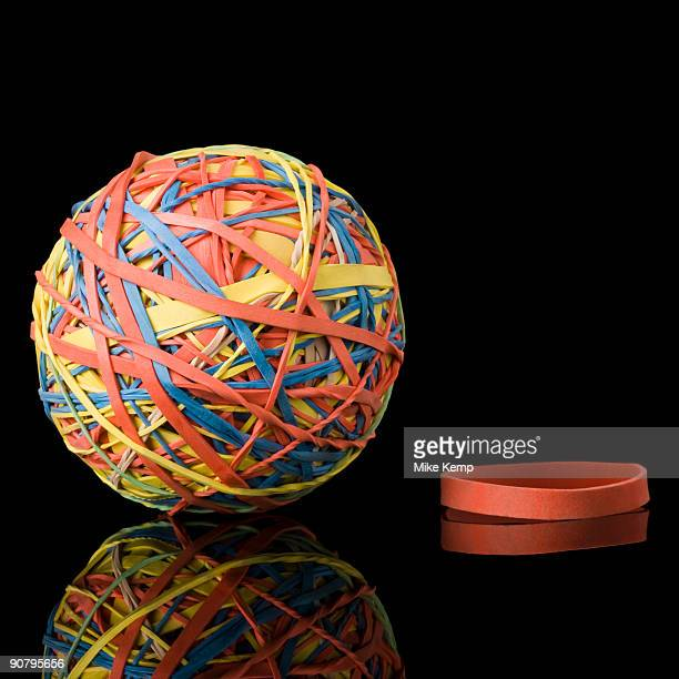 rubber band and a rubber band ball