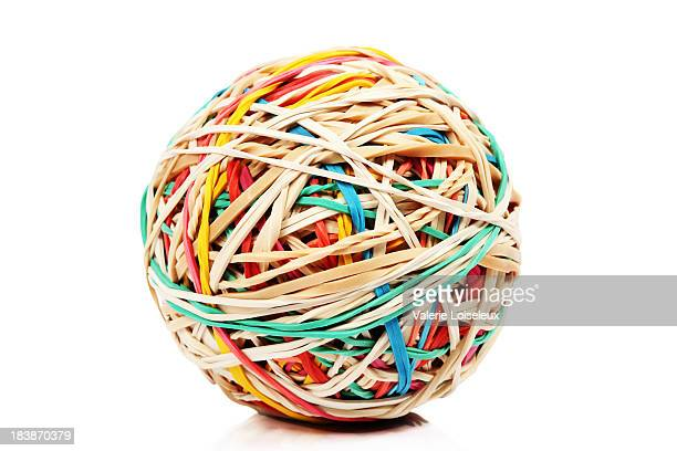 rubber band ball - bouncing ball stock photos and pictures