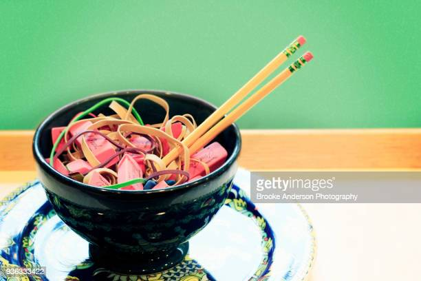 Rubber Bands And Erasers Soup With Pencil Chopsticks