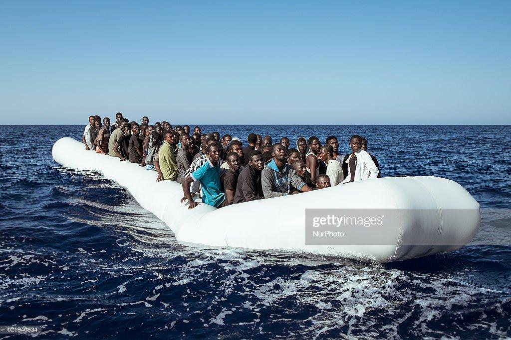 On board a migrants rescue vessel in the Mediterranean : News Photo