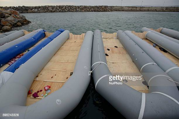 Rubber boats at the island of Chios Greece on March 21 2016 Like Lesbos Chios is an other Greek island where the migrants every day crossing the...