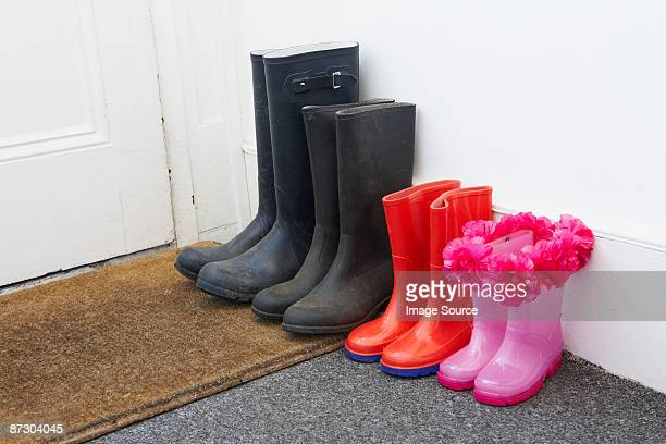 Rubber boots in hallway