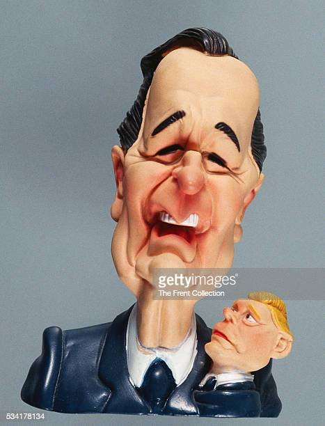 A rubber doll depicting a bust of George Bush and Dan Quayle from the 1988 presidential election