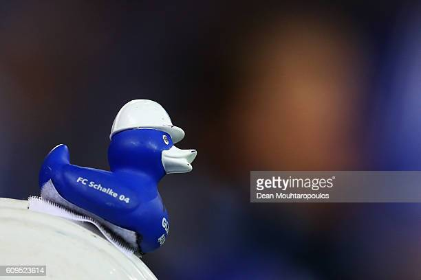 A rubber duck with the Schalke logo is pictured during the Bundesliga match between FC Schalke 04 and 1 FC Koeln at VeltinsArena on September 21 2016...