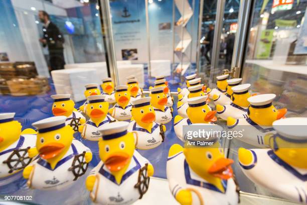 Rubber ducks are presented as gifts to visitors at boot Dusseldorf 2018 on January 20 2018 in Dusseldorf Germany boot Dusseldorf is the worlds...