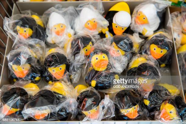 Rubber ducks following the outer appearance of Martin Luther and his wife Katharina von Bora are on offer outside a shop shop in Lutherstadt...