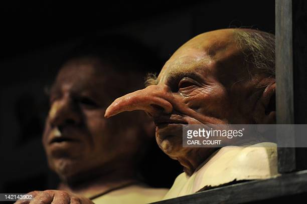 Rubber masks of the goblins at Gringotts Wizarding Bank are displayed during a preview of the Warner Bros Harry Potter studio tour The Making of...