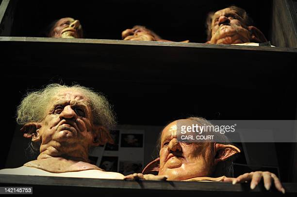 Rubber masks of the goblins at Gringotts Wizarding Bank are displayed during a preview of the Warner Bros Harry Potter studio tour 'The Making of...