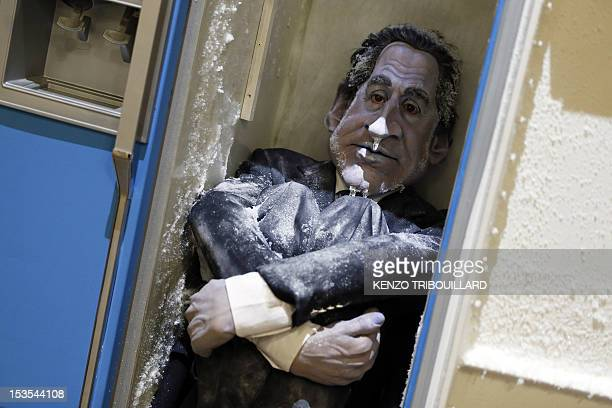 Rubber puppet of former French president Nicolas Sarkozy from the satirical TV show Les Guignols is seen on October 6 2012 at the Palais de Tokyo...