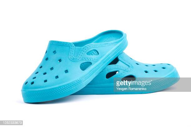 rubber sandals isolated on the white background - blue shoe stock pictures, royalty-free photos & images