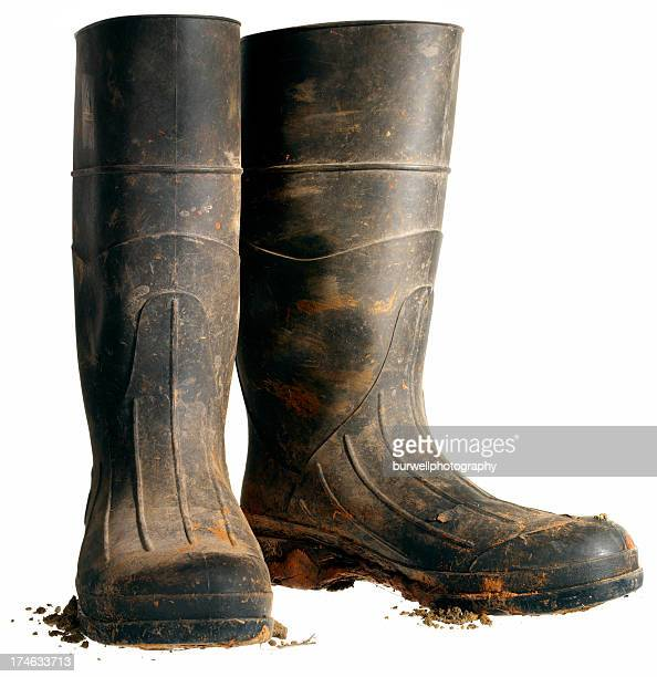 rubber work boot, isolated - black boot stock pictures, royalty-free photos & images