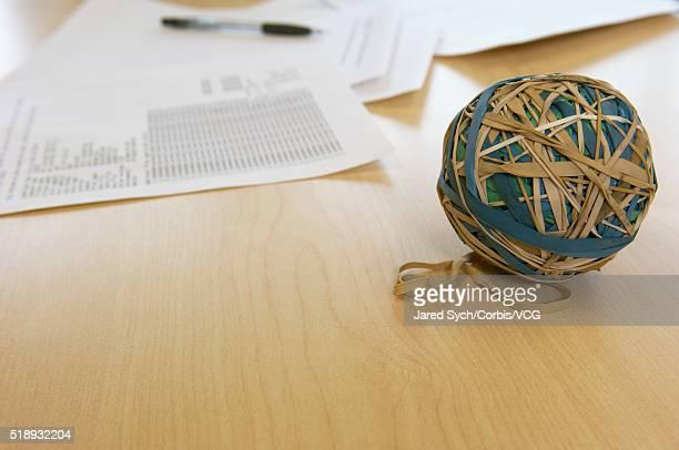 Rubberband ball on desk