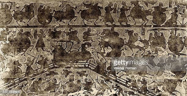 Rubbing of tomb brick relief depicting war chariots and battle scenes China Date Han dynasty 300 BC 200 AD Material Clay Brick