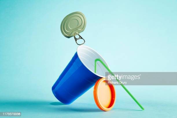 rubbish balanced in a stack - still life stock pictures, royalty-free photos & images