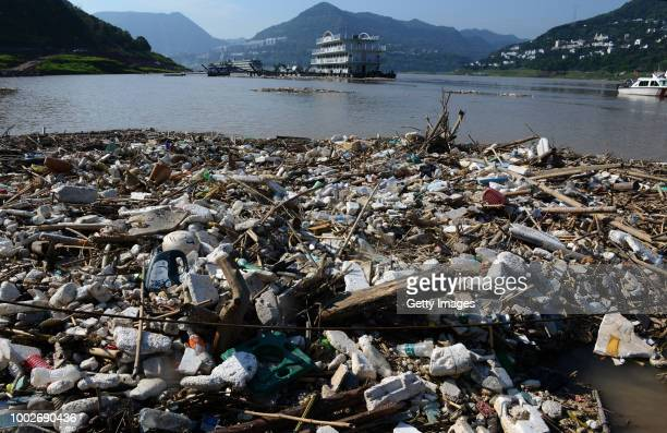 Rubbish floats on the Yangtze River at Yunyang County on July 17 2018 in Chongqing China The Yangtze River affected by sustained rainfall formed its...