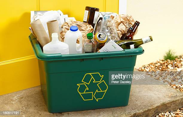 rubbish for recycling on a doorstep for collection - recycling stock pictures, royalty-free photos & images