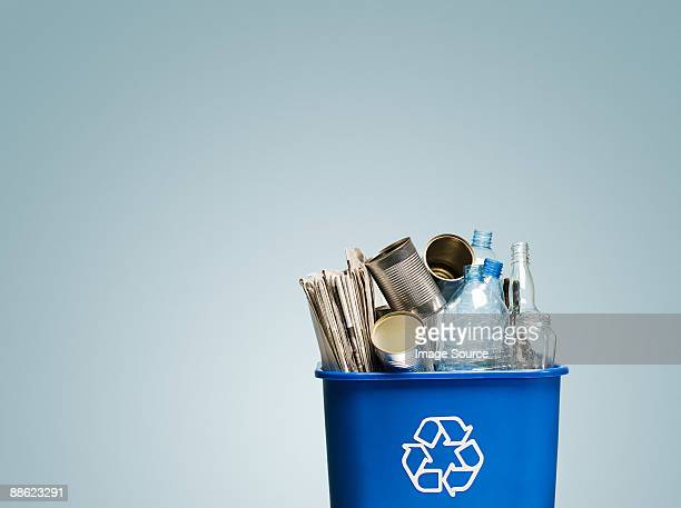 rubbish in a recycling bin - tin can stock pictures, royalty-free photos & images