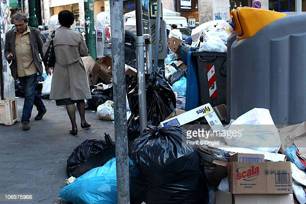 Rubbish is piled up in a central street on November 19 2010 in Naples Italy Around 2000 tons of rubbish have accumulated in various parts of the city...