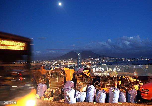 Rubbish is piled up in Corso Vittorio Emanuele with Mount Vesuvius in the distance on November 19 2010 in Naples Italy Around 2000 tons of rubbish...