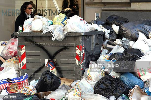 Rubbish is piled up in the central Corso Umberto area on November 19 2010 in Naples Italy Around 2000 tons of rubbish have accumulated in various...