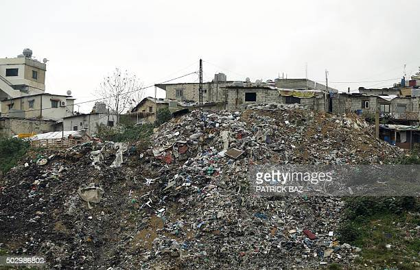 Rubbish is seen piled up on a hill in Jdeideh northeast of Beirut on December 31 2015 AFP PHOTO / PATRICK BAZ / AFP / PATRICK BAZ