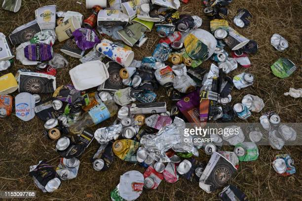 Rubbish lies on the ground in front of the pyramid stage at Glastonbury Festival of Music and Performing Arts on Worthy Farm near the village of...