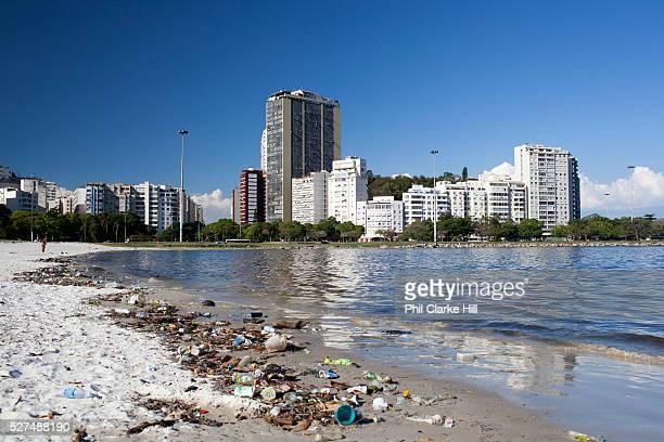 Rubbish litter pollution on Botafogo beach near the marina Rio de Janeiro Brazil