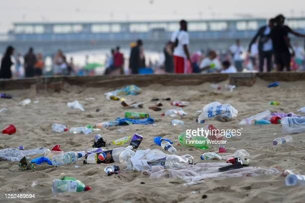 Rubbish litters the beach after many visitors leave on June 25 2020 in Bournemouth United Kingdom A major incident was declared by the local council...