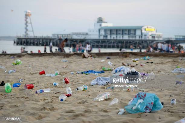 Rubbish litters the beach after many visitors spent the day there on June 25 2020 in Bournemouth United Kingdom A major incident was declared by the...