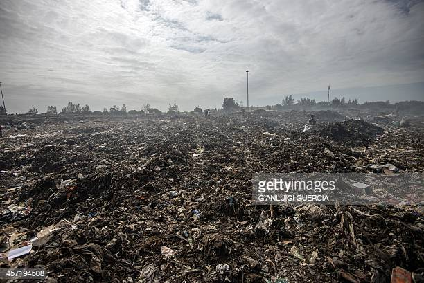 Rubbish pickers dig through garbage at the Maputo Municipal Garbage dumping site on October 14 2014 in Maputo Mozambique Mozambicans will cast their...