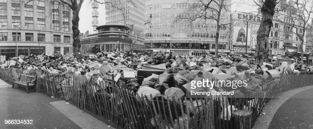 Rubbish piled up near Leicester Square as waste collectors were on strike to ask for a pay rise London UK 5th February 1979