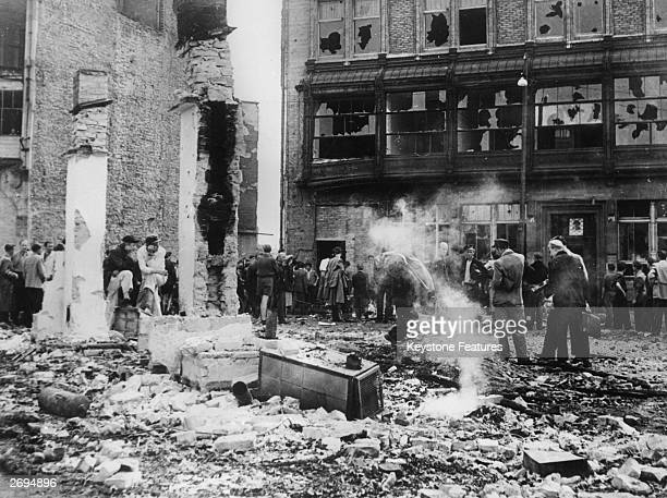 Rubble and debris in Friedrichstrasse Berlin after anticommunists clashed with the Volkspolizei or Vopo the State Secret Police The following day the...