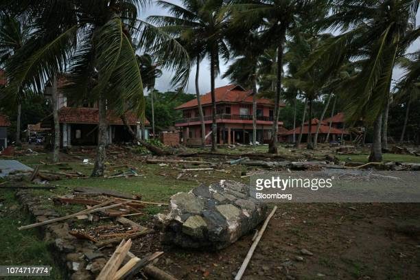 Rubble and debris lays strewn outside the Krakatoa Hotel Banten province Indonesia on Monday Dec 24 2018 Rescuers hunted for survivors and victims...