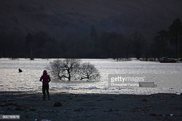 Rubble and debris left on the shoreline of Ullswater by Storm Desmond at the Cumbrian village of Glenridding on December 10 2015 in Penrith England...