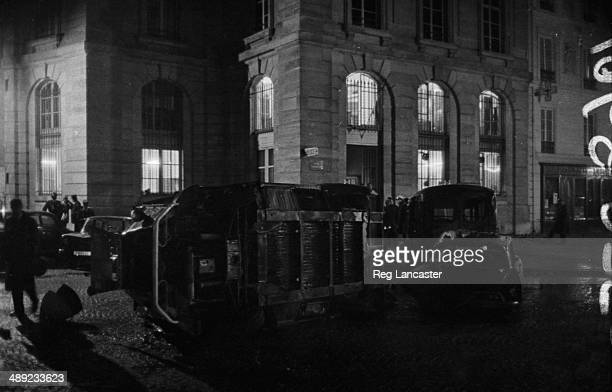 Rubble and overturned cars lining the streets in the Paris Latin Quarter during the riots France 25th May 1968