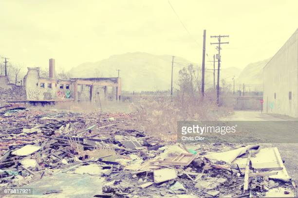 Rubble at dilapidated factory, Detroit, Michigan, United States