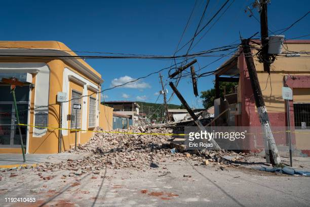 Rubble covers the street after a 6.4 earthquake hit just south of the island on January 7, 2020 in Guayanilla, Puerto Rico. This morning's earthquake...
