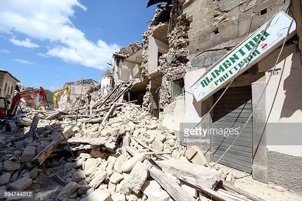 Rubble covers the street following an earthquake in Amatrice Italy on Wednesday Aug 24 2016 A powerful earthquake hit central Italy in the middle of...