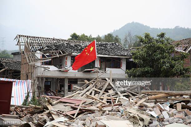 Rubble from a collapsed building after a strong earthquake hit Southwest China's Sichuan Province on April 21 2013 in Lushan of Ya An China A...