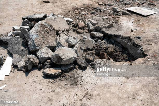 rubble from a road excavation - rubble stock pictures, royalty-free photos & images