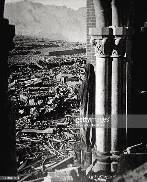 Rubble from the blast of the atomic bomb taken from the Catholic cathedral 17 years after the explosion Nagasaki Genuary 1962