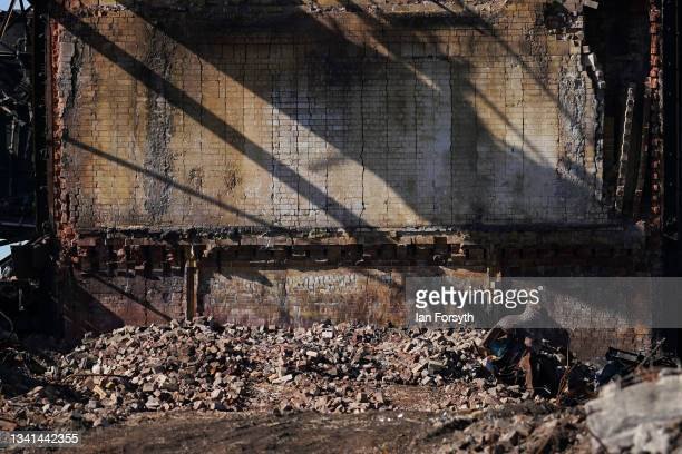Rubble from the Gibbon Wilputte Coal bunker lies on the ground following the demolition of the Dorman Long Tower at Southbank on the former Redcar...