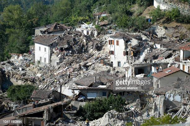 Rubble is all that is left after the earthquake in Pescara del Tronto in the province of Rieti, Italy, 25 August 2016. Several people have died as...