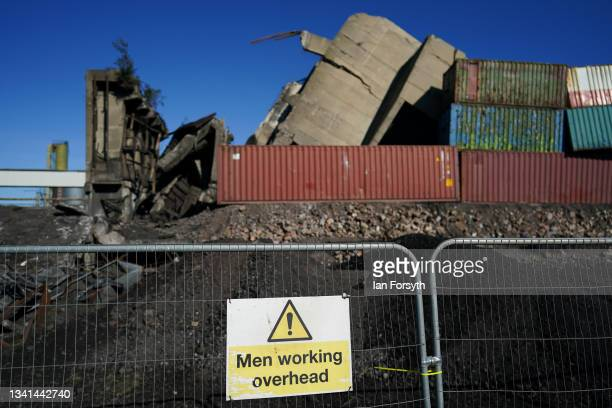 Rubble lies on the ground following the demolition of the 55 metre high Dorman Long Tower at Southbank on the former Redcar steelworks site on...