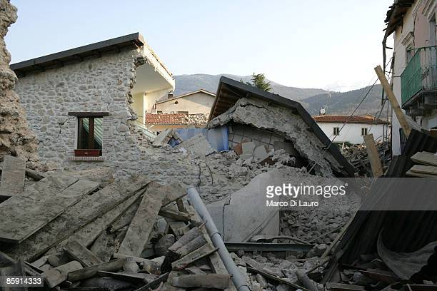 Rubble of a building that was damaged by the earthquake lies on the ground on April 11 2009 in Tempera a village near L'Aquila Italy Easter weekend...
